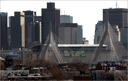 The view from Charlestown, with the Leonard P. Zakim Memorial Bridge as the gateway to downtown.