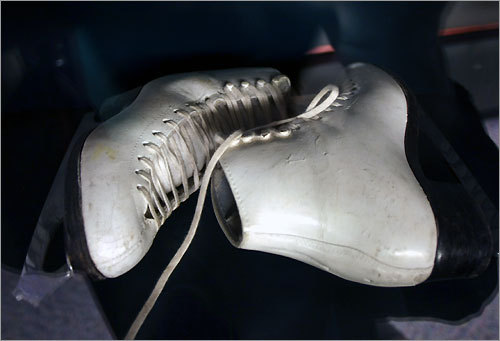 A pair of skates belonging to Olympic silver medalist Nancy Kerrigan are on display at the Sports Museum at TD Banknorth Garden, along with one of her outfits worn during competition.