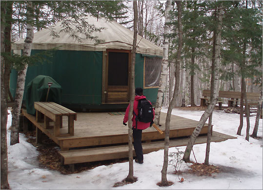A short hike from the road brings you to your destination yurt.
