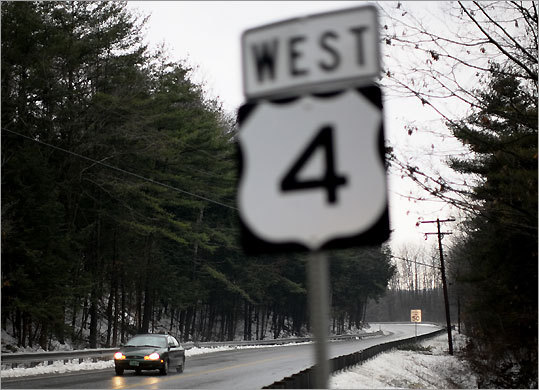 Two-lane Vermont roads like Route 4 (here, near White River Junction) feel like highways but have 50 mile-per-hour limits.
