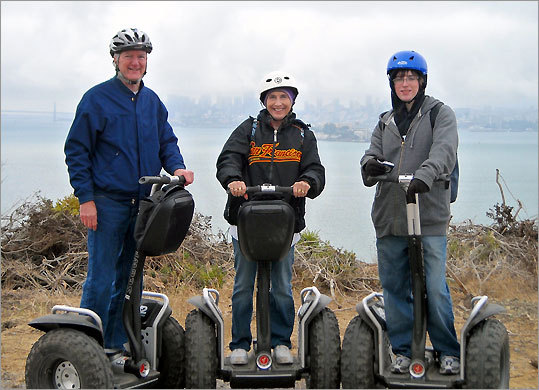 Bob, left, Ginny, and Chris McDermott at Angel Island State Park in San Francisco Bay.