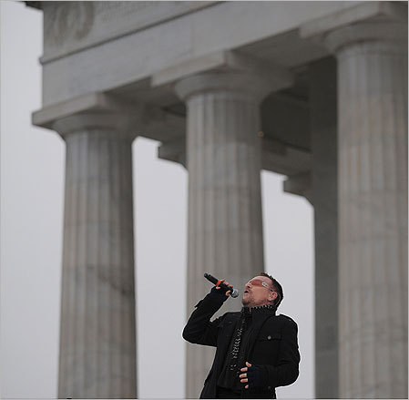 Bono of U2 sang 'City of Blinding Lights', a staple of Obama's campaign rallies, and the MLK-themed 'Pride (In the Name of Love).'
