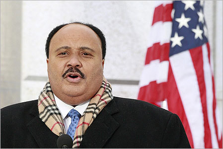 Martin Luther King III spoke on the steps of the Lincoln Memorial where his father delivered his famous 'I Have A Dream' speech.