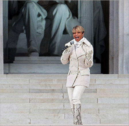 Mary J. Blige performed 'Lean on Me' during the event, which included a diverse array of talent featuring both musical performances and historical readings and and speech by Barack Obama.