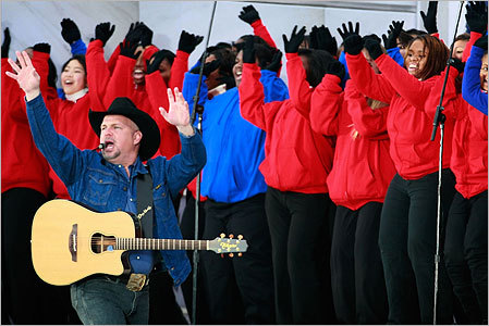 Musician Garth Brooks performed 'American Pie' and 'Shout.'