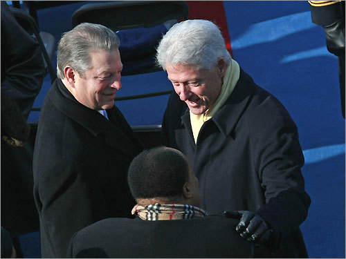 Former Vice President Al Gore (left) and former President Bill Clinton