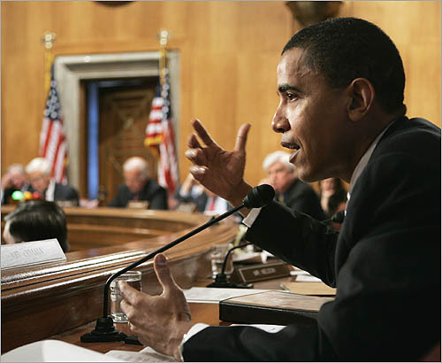 Then Sen. Barack Obama, D-Ill., questions a witness as he testifies before the Senate Foreign Relations Committee