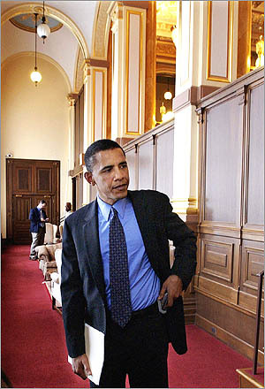 Then Illinois State Sen. Barack Obama at the Illinois State Capitol in Springfield, Ill.