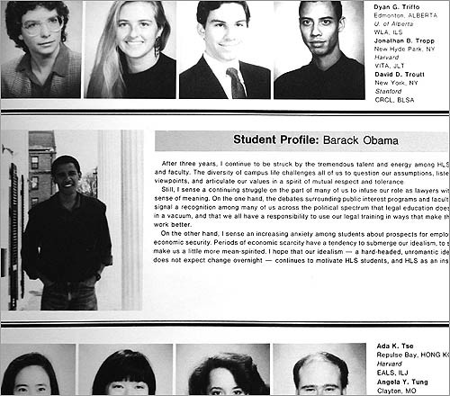 A brief profile of Barack Obama from the 1991 edition of the Harvard Law School Yearbook