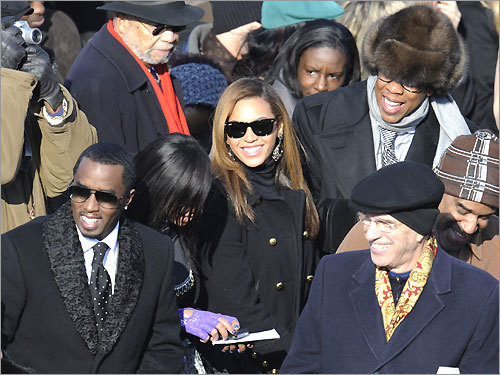 Entertainers (from left) Sean Combs, Solange Knowles, and Beyonce Knowles and husband Jay-Z, before the start of the inauguration ceremony.
