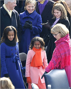 Malia (left) and Sasha (2d left) Obama
