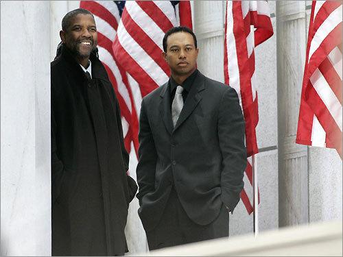 Actor Denzel Washington (left) and golfer Tiger Woods