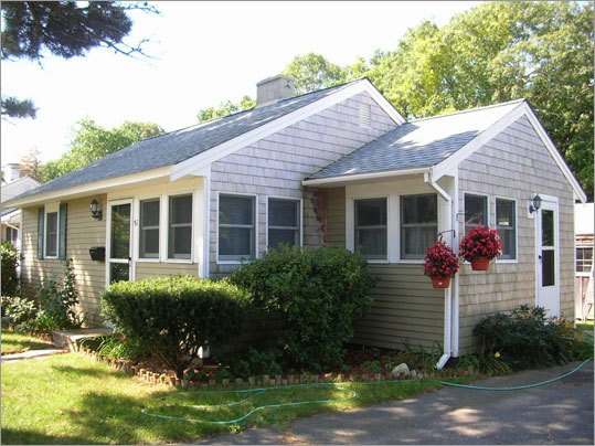 Housing prices have fallen sharply in numerous places on Cape Cod, including Hyannis, where the median price at the end of 2008 was $205,000. This Pilgrim Lane house is currently listed at $136,500.