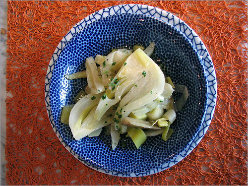 A salad of marinated artichokes, leeks, and fennel at Fratelli Lyon restaurant.