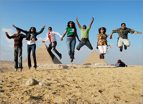 Finalist #9 Rahul, Bina, Chintan, Bhavana, Paul, Shilpi, and Pritesh on their dream vacation at the Pyramids in Giza, Egypt in January 2009.
