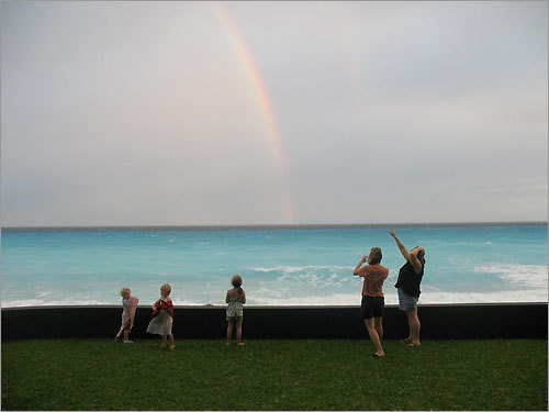 Finalist #10 Rachel, Abbie, Bella, Kim, and Becca, chasing rainbows in Cancun in January 2008.