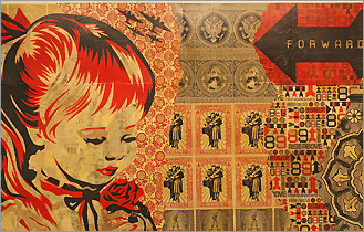 Shepard Fairey's 'War by Numbers Installation' (detail) is on view at the ICA.