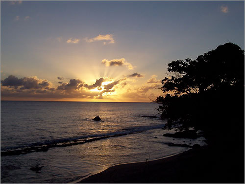 Sunset in Esperanza, Vieques in Puerto Rico.