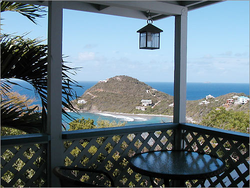 'Our honeymoon villa in St. John, US Virgin Islands. We dubbed this 'Chez Melissa' as it was my favorite spot to sip my morning coffee and listen to the waves lap the shore.'