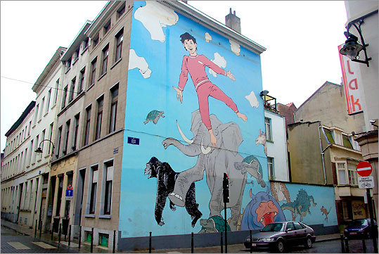 'The Dreams of Nic' by Hermann is one of 30 murals devoted to characters from comics that adorn the capital of Belgium.