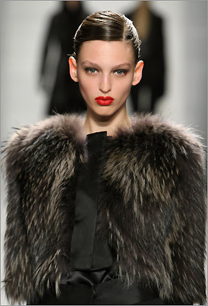 A model presents a fierce, and warm, look at the J. Mendel Fall 2009 fashion show.