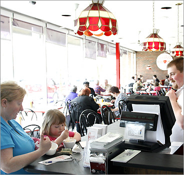 Customers at Cabot's Ice Cream in Newtonville
