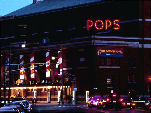 The POPS sign on the roof of Symphony Hall, built in 1934, is the oldest original neon sign on display in Boston. The sign is displayed every spring when the Boston Pops ensemble performs.