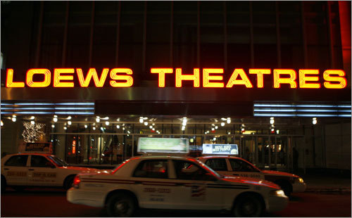 Theatres have some of the city's brightest neons. AMC Lowes Boston Common cinema on Tremont Street.