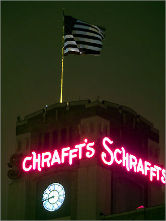 The former Charlestown candy factory, Schrafft's. The building is now office space, owned by the Flatley Co., which maintains the sign.
