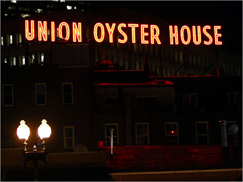 The Union Oyster House sign is on the Boston restaurant's rooftop.