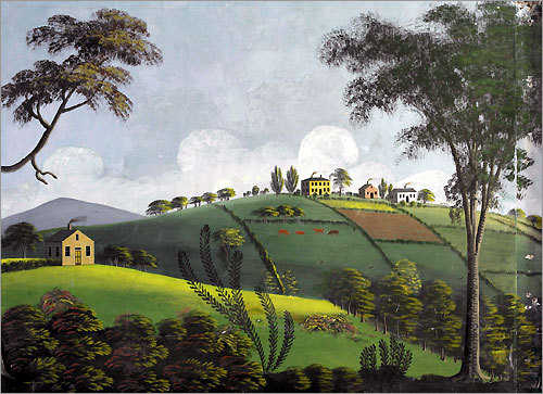 This Rufus Porter landscape painted in 1828 is preserved at the Rufus Porter Museum in Bridgton, Maine