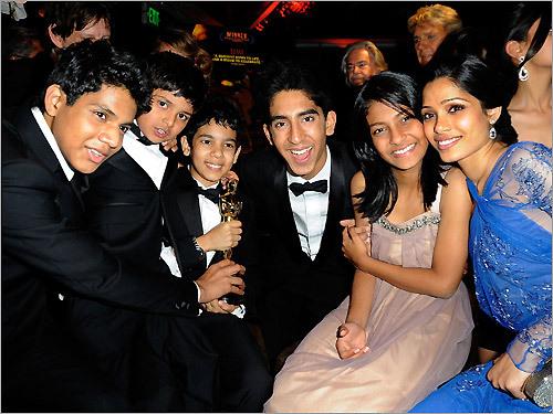 Actors Ashutosh Lobo Gajiwala, Ayush Mahesh Khededar, Azhar Mohammed Ismail, Dev Patel, Tanvi Ganesh Lonkar and Freida Pinto