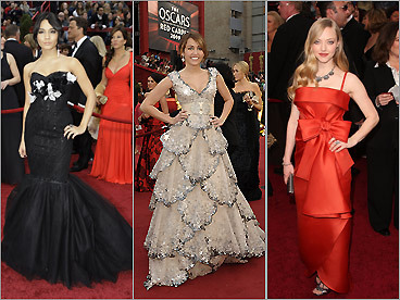 Call it the battle of the bland. Although the big film going into the 2009 Oscars was 'Slumdog Millionaire,' little of the film's vivid color translated to the evening's couture at this year's Academy Awards. Starlets headed down the red carpet in a steady stream of whites, creams, and beiges. Oh, 2007, how your Oscar evening gown colors were missed this year. Read the full story — Christopher Muther, Globe Staff Muther takes a look at the celebrities whose Oscar styles were in good taste — and those whose fashion choices were subject to doubt ...