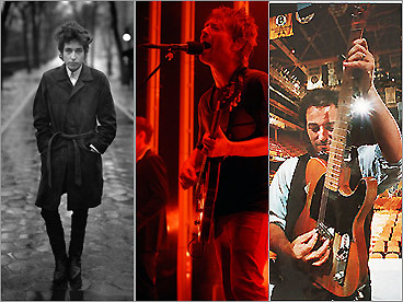 From left: Bob Dylan, Radiohead, and Bruce Springsteen