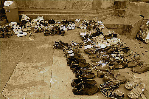 Shoes in New Delhi, India. 'Shoes must also be removed before entering a temple as a sign of respect.'