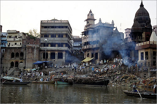 The Ganges River in Varanasi, India. 'The Ganges River has long been considered a holy river by Hindus. Many Hindus believe that bathing in the Ganges is a spiritual practice.'