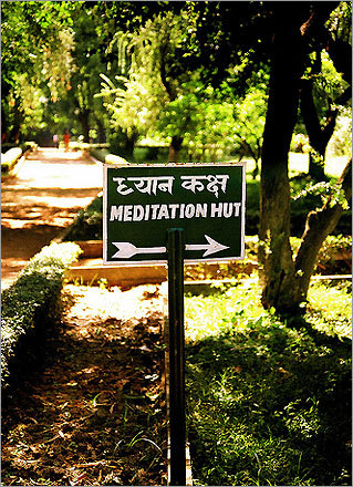 A sign for a meditation hut by the monastery at Venuvan Vihar in Rajgir, India.