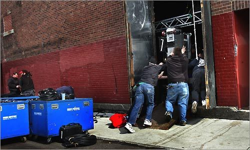 Behind the Somerville Theater on March 10, equipment was unloaded for what was believed to be tonight's U2 concert.