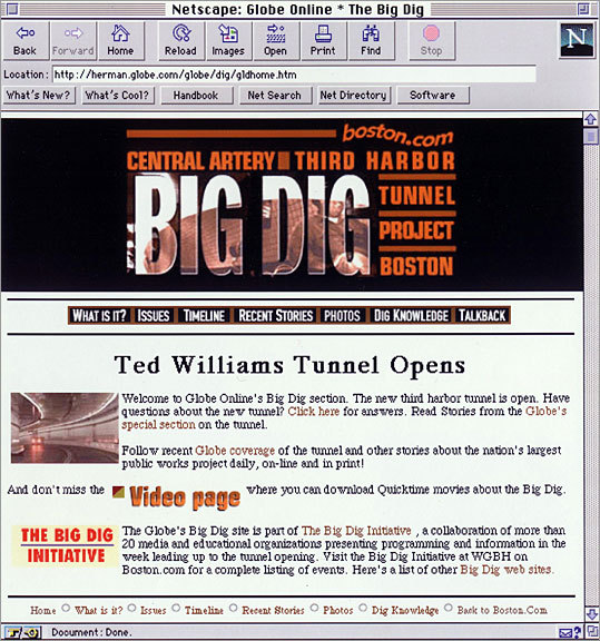This screenshot shows the special section covering the Big Dig and the opening of the Ted Williams Tunnel in 1995.