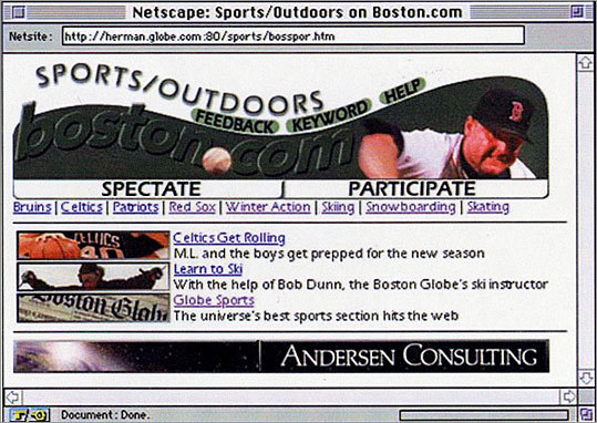 The top of this Boston.com sports page featured Roger Clemens - still as a Red Sox - in the banner.