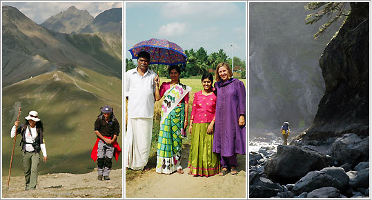 For safety, one woman hired a guide to accompany her on a hike in the Alps near Samnaun, Switzerland; Predeeb and Amma Sherida, with their daughter Shani, invited the author to stay with them in Palakkad, India; Teri Carter of Fernadale, Wash., explores the rugged Olympia Peninsula.
