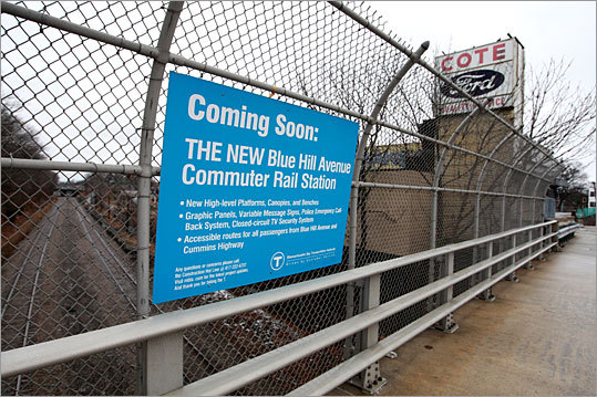 The site near the former Cote Ford dealership in Mattapan is near the planned expansion of the Fairmount commuter rail line.