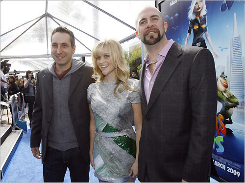 Rob Letterman, Reese Witherspoon, and Conrad Vernon