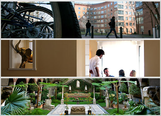 Northeastern University's West Village residence; The Elephant Walk serves French-Cambodian food; The Gardner Museum is from other centuries.