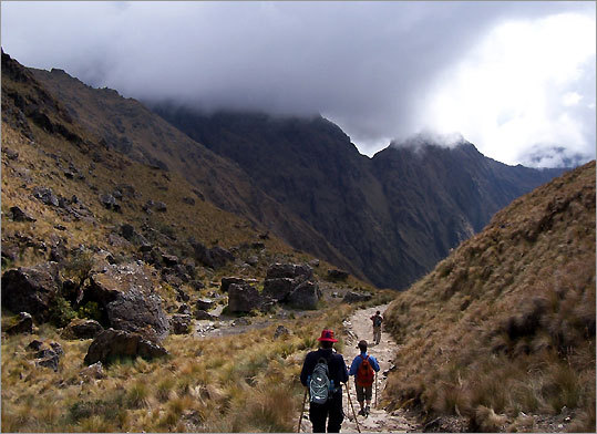 These hikers are following the original Inca steps - remember they had no horses or mules - to the Sun Gate of Machu Picchu.