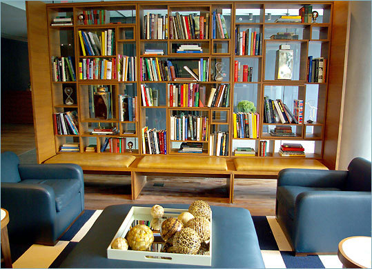 Comfortable leather armchairs in the lobby of The Study at Yale make an inviting spot to just hang out.