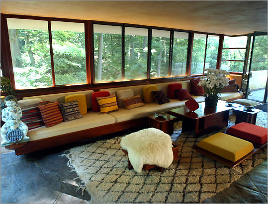 The great room of Frank Lloyd Wright's Fallingwater.