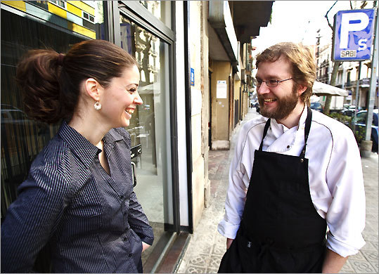 Gresca owners, Mireia Navarro and Rafael Pena (the chef), take a break outside of their Barcelona restaurant.