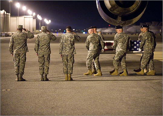 An Army carry team transferred the remains of Army PV2 Bryce E. Gautier, of Cypress, Calif. Gautier was assigned to the 1st Battalion, 67th Armor Regiment, 2nd Brigade Combat Team, 4th Infantry Division, Fort Carson, Colo.