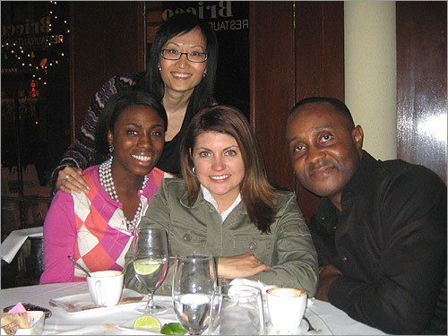 Were they craving Italian? Neve Winspeare, Christina Marchand Roderick, Liyan Zhao (standing), and Dale Winspeare posed for a photo at Bricco in the North End.